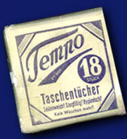 Tempo Produktverpackung aus dem Jahr 1929